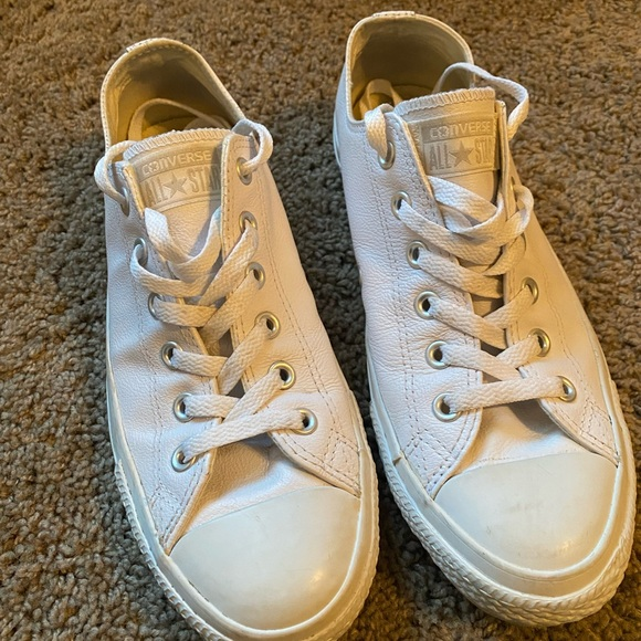 Brand New White Leather Converse